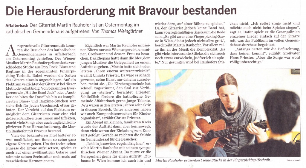 """""""Die Herausforderung mit Bravour bestanden"""". Marbacher Zeitung, April 7, 2015"""